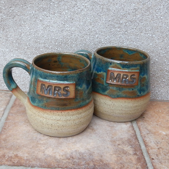 Mrs and Mrs cuddle mugs coffee tea hand thrown in stoneware pottery ceramic hand