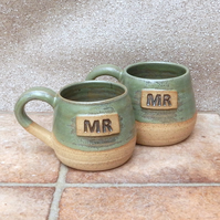 Mr and Mr cuddle mugs hand thrown stoneware pottery