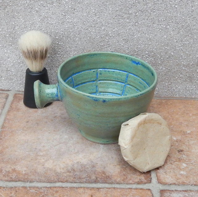 Apothecary shaving lather bowl shave pot hand thrown in stoneware soap