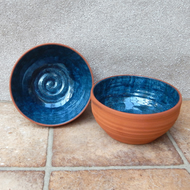Pair of soup or noodle bowl hand thrown terracotta pottery ceramic handmade