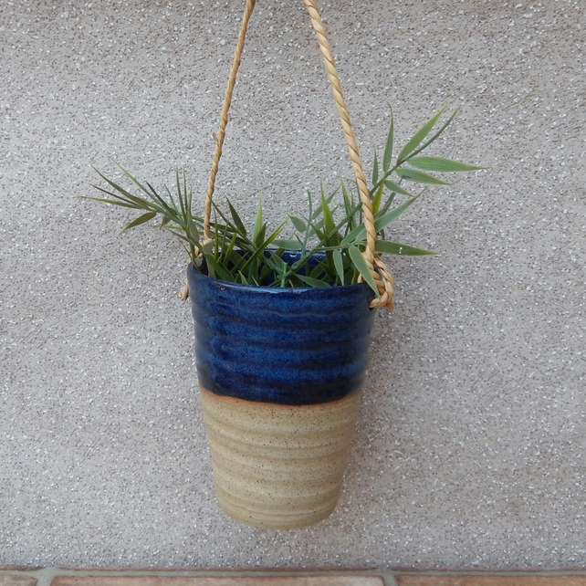Hanging herb planter hand thrown stoneware pottery ceramic plant pot