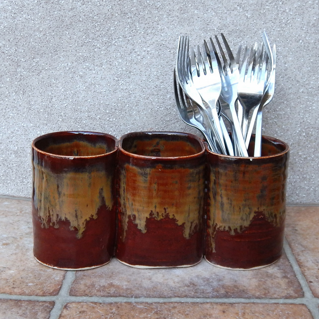 Cutlery and utensil storage pot hand thrown stoneware handmade pottery ceramic