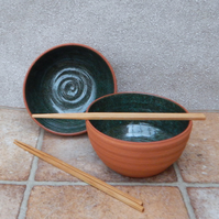 Pair of noodle or rice bowls hand thrown terracotta handmade pottery wheelthrown