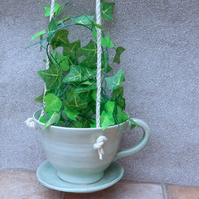 Hanging planter or garden bird feeder hand thrown in stoneware--weatherproof