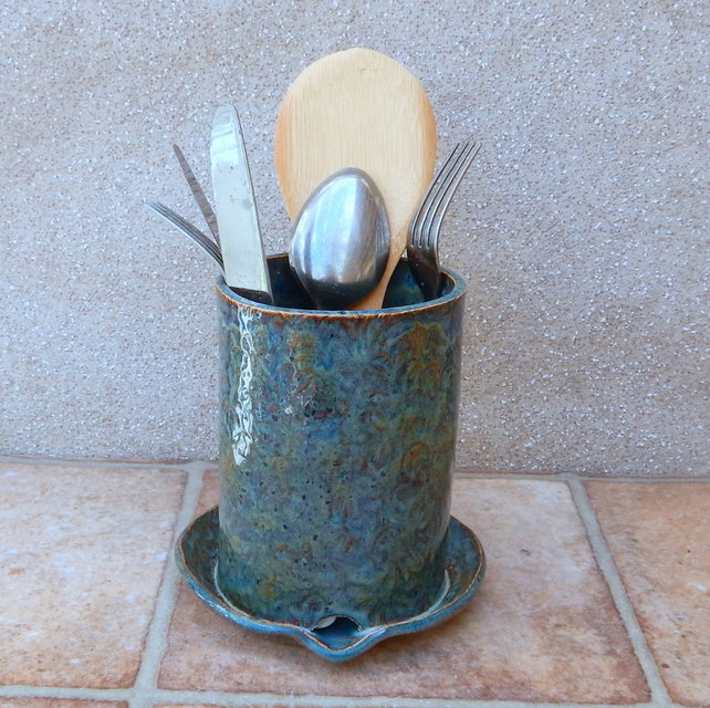 Utensil and cutlery drainer toothbrush holder stoneware hand thrown pottery
