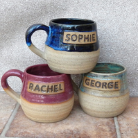 Personalised mug custom made wheelthrown stoneware
