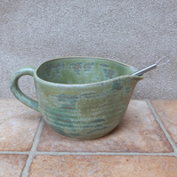 Batter mixing pouring bowl sauce or gravy jug or pitcher wheelthrown stoneware