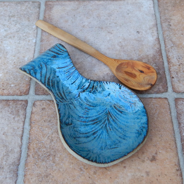 Spoon rest handmade in textured stoneware spoonrest pottery ceramic