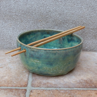 Noodle or rice serving bowl hand thrown in stoneware pottery ceramic wheelthrown