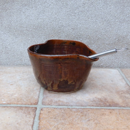 Egg whisking drizzle bowl hand thrown stoneware batter mixing salad dressing
