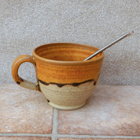 Hot chocolate or soup mug hand thrown stoneware with a whisk handmade pottery