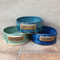 Personalised small rabbit feeding bowl wheelthrown stoneware pottery bunny