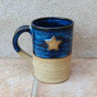 Coffee mug tea cup with a star in stoneware hand thrown ceramic pottery handmade