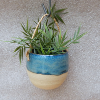 Hanging herb planter hand thrown stoneware pottery ceramic pottery plant pot