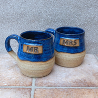 Pair of Mr and Mrs cuddle mugs coffee tea cups in stoneware hand thrown