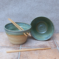 Pair of noodle or rice bowls hand thrown in stoneware ceramic pottery handmade