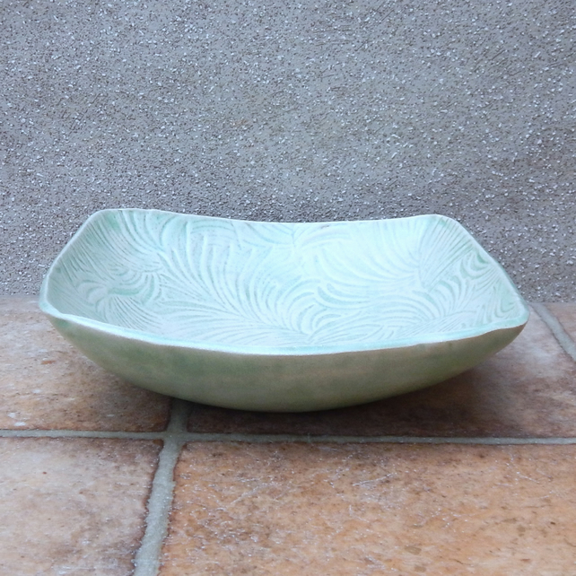 Serving dish fruit bowl  in textured stoneware ceramic pottery handmade