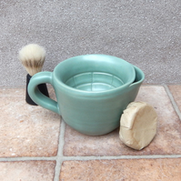 Shaving scuttle shave bowl hand thrown in stoneware handmade pottery