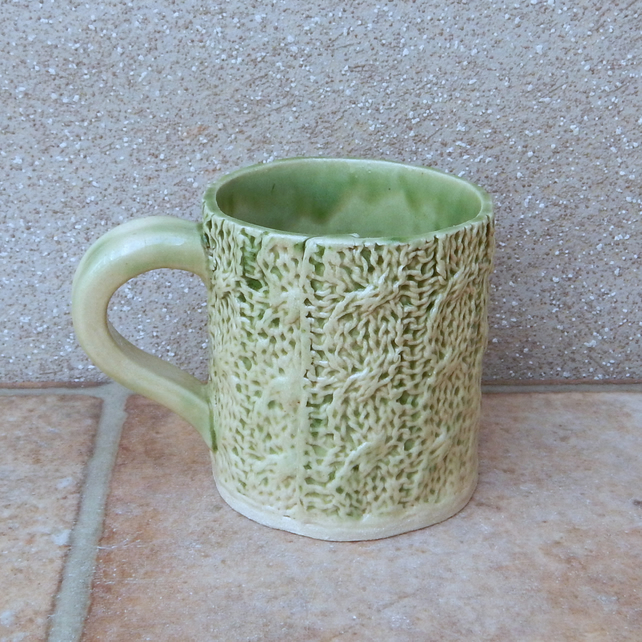 Coffee mug tea cup handmade in knitting textured stoneware ceramic pottery knit