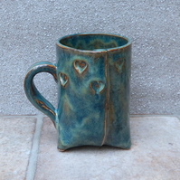 Tripod coffee mug tea cup heart stoneware pottery ceramic  handmade 3 three feet