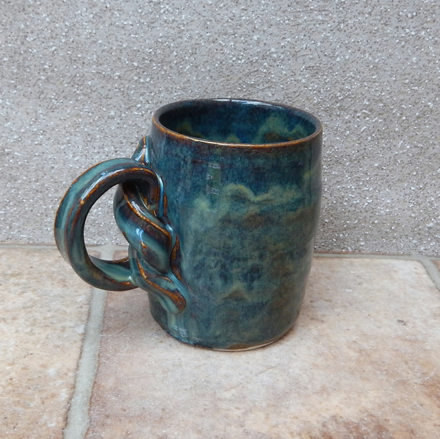 Coffee mug large tea cup knotted handle hand thrown stoneware pottery ceramic