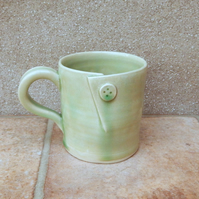Coffee mug tea cup hand thrown stoneware pottery ceramic button handmade