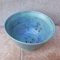 Berry bowl or colander wheel thrown stoneware pottery ceramic handmade