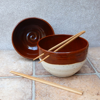 Pair of noodle or rice bowls hand thrown in stoneware pottery ceramic handmade
