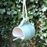 Bird feeder mug hand thrown in stoneware--weatherproof handmade pottery
