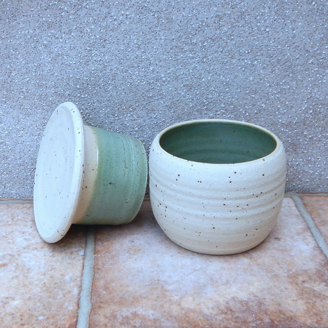 French butter dish crock keeper hand thrown stoneware handmade ceramics pottery