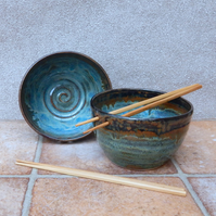 Pair of noodle or rice serving bowls hand thrown in stoneware pottery ceramic