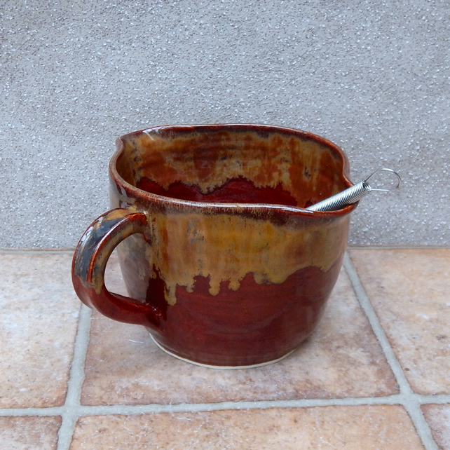Large sauce serving jug mixing or pouring bowl pitcher hand thrown pottery stone