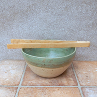 Oven to table serving salad bowl dish Hand Thrown In Stoneware Handmade Pottery