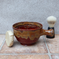 Apothecary shaving lather bowl shave pot hand thrown in stoneware soap pottery