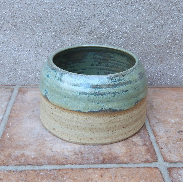 Spaniel dog water bowl long ears eared hand thrown stoneware pottery wheel
