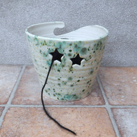 Yarn bowl knitting or crochet wool star hand thrown pottery ceramic handmade
