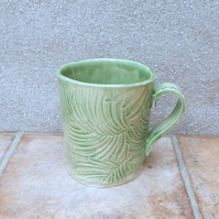 Coffee mug tea cup in textured stoneware pottery ceramic handmade