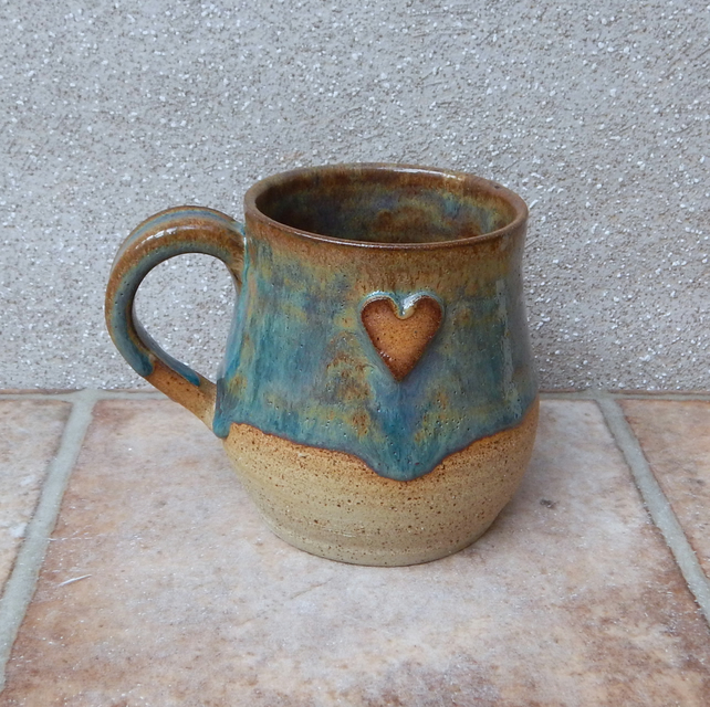 Cuddle mug coffee tea cup handthrown in stoneware pottery ceramic heart handmade
