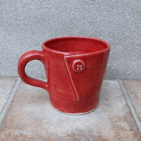 Coffee mug tea cup button hand thrown stoneware handmade pottery wheelthrown
