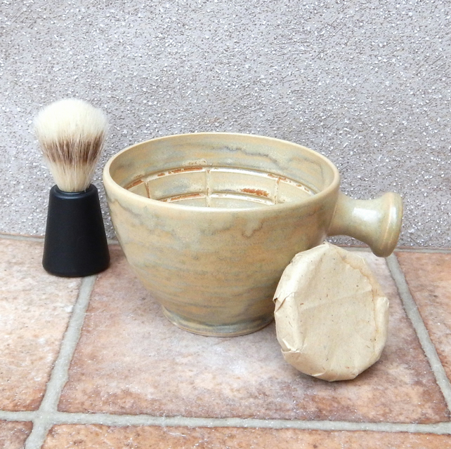 Large shaving lather bowl shave pot hand thrown in stoneware soap