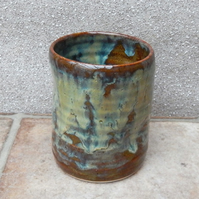 Water or juice beaker tumbler wheel thrown in stoneware pottery handmade ceramic