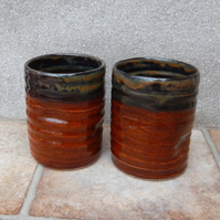 Pair of water or juice beaker, beer tumbler cup hand thrown in stoneware pottery