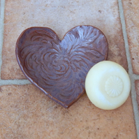 Soapdish trinket bowl spoonrest heart handmade pottery ceramic valentine