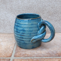 Coffee mug tea cup knotted handle hand thrown stoneware pottery ceramic