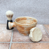 Apothecary shaving bowl shave pot hand thrown in stoneware ceramics pottery