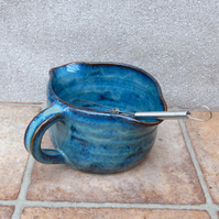 Batter mixing or pouring jug hand thrown pitcher in stoneware with whisk ceramic