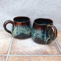 Pair of cuddle mug coffee tea cup hand thrown stoneware pottery ceramic