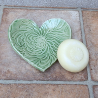 Soap dish trinket bowl spoonrest heart handmade soapdish pottery