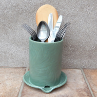 Cutlery and utensil drainer toothbrush holder handmade in stoneware pottery