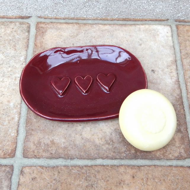 Soap dish with hearts ceramics pottery ceramic handmade stoneware soapdish